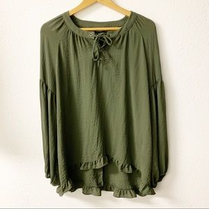 a.n.a. Peasant style top.  Olive green.  X Small